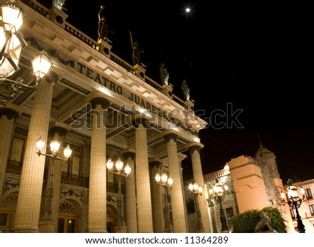 Juarez Theater, Teatro Juarez, at night with Moon, Guanajuato, Mexico.  The San Diego Church is in the background.