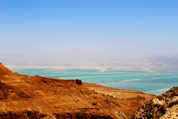Judean Mountains in Israel and View of the Dead Sea. Natural landscape, tourist Israel