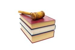 Judge gavel and books isolated on white background. horizontal photo.