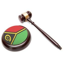 Judge gavel and soundboard with national flag on it - Vanuatu