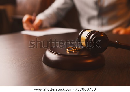 Judge gavel deciding on marriage divorce #757083730