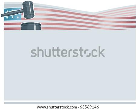 Judge Gavel (Hammer) on American Flag Background