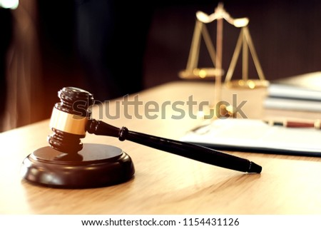 Judge gavel hammer on Lawyer desk