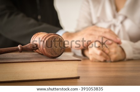 judge gavel  law books with...