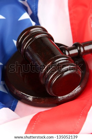Judge gavel on american flag background