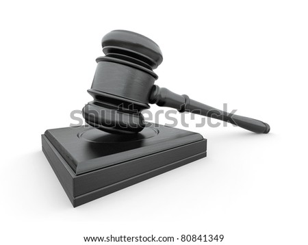 Judge gavel on white isolaed background. 3d - stock photo