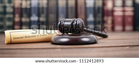 Judge Gavel, Universal declaration of human rights on a wooden background, human rights concept. #1112412893