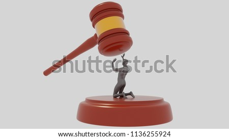 Judge Hammer on  white background with gray human.  Injustice of the law. Unjustly accused. 3D Gavel. Render.