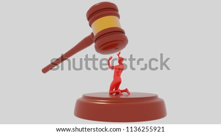 Judge Hammer on  white background with red human.  Injustice of the law. Unjustly accused. 3D Gavel. Render.