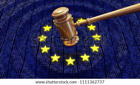 Judge hammer or gavel hitting EU data bits and bytes. Concept of GDPR law, breach and monetary penalty. 3D illustration
