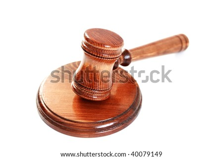 judge's courtroom gavel on white background