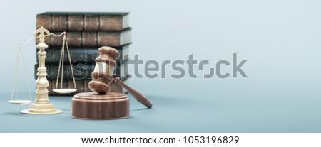 Judge's gavel, justice concept, 3d render illustration