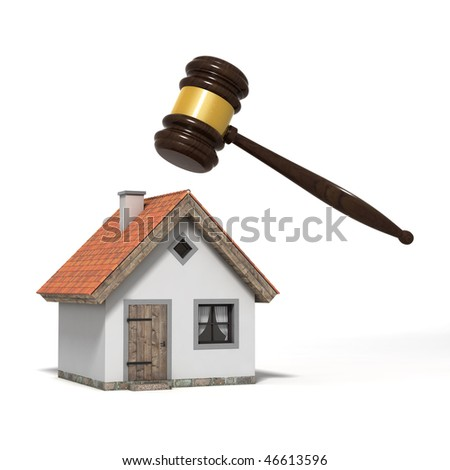 Judge's gavel over a house, isolated on white background