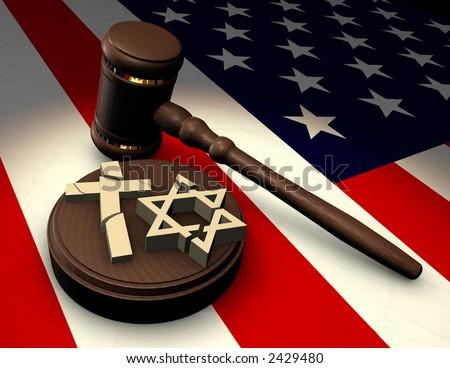 Judge's gavel smashing religious symbols of cross and star of David on an American flag - stock photo