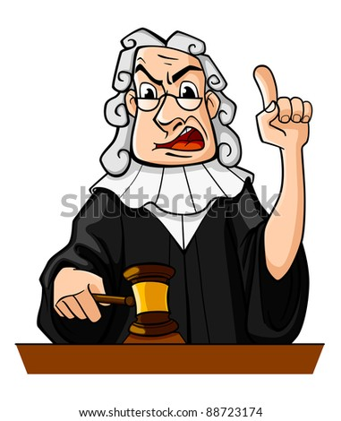 Judge with gavel makes verdict for law concept design. Vector version also available in gallery