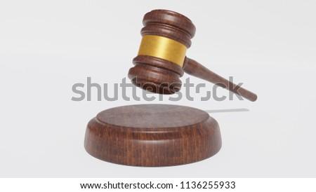 Judge Wood Hammer on  white background. 3D Gavel. Render.