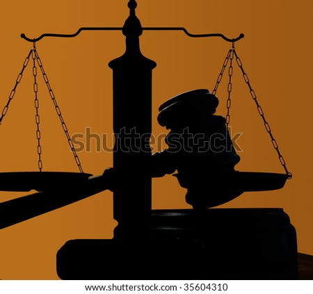 judges court gavel and scales of justice