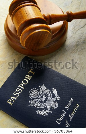 judges court gavel and US passport,  from above
