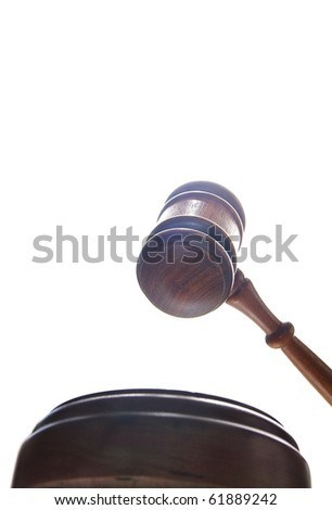 judges court gavel from below, on white - stock photo