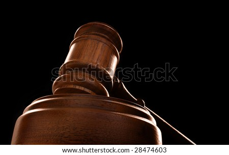 judges court gavel on a black background