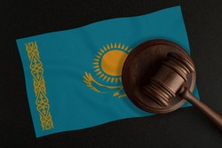 Judges gavel and the flag of Kazakhstan. Law and Justice. Constitutional law.