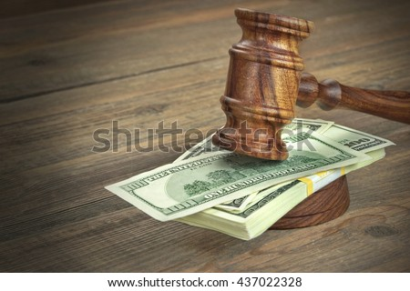 Judges or Auctioneer Gavel, Soundboard And Bundle Of Dollar Cash On The Rough Wooden Textured Table Background. Concept For Corruption, Bankruptcy Court, Bail, Crime, Bribing, Fraud, Auction Bidding.