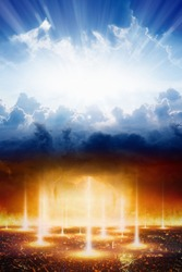 Judgment day, heaven and hell, good and evil, light and darkness, dramatic apocalyptic religious background.