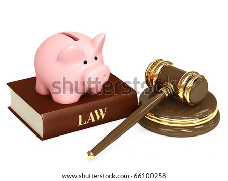 Judicial 3d gavel and piggy bank. Objects isolated over white