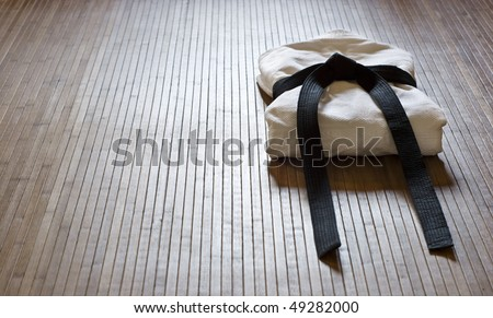 judo dress with copy space - stock photo