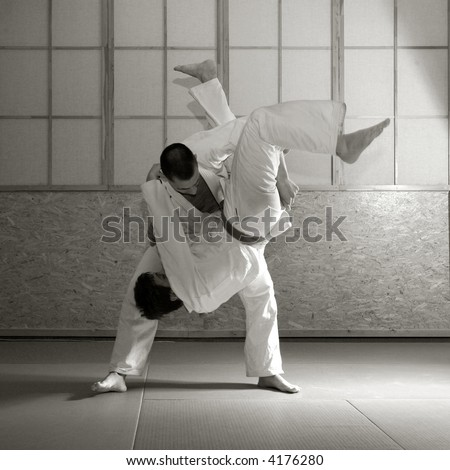 Judo fight, black and white