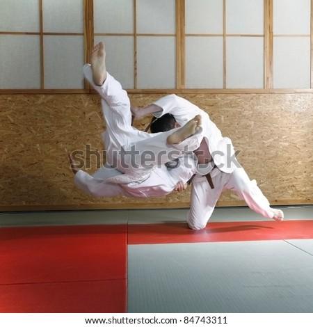 Judo fight, color version - stock photo