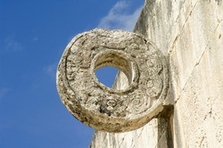 Juego de Pelota - The Great Ball Court, carved ring with serpents, Chichen Itza; Yucatan, Mexico