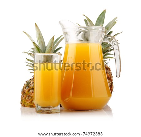 Jug and glass of pineapple juice with fruits isolated on white background