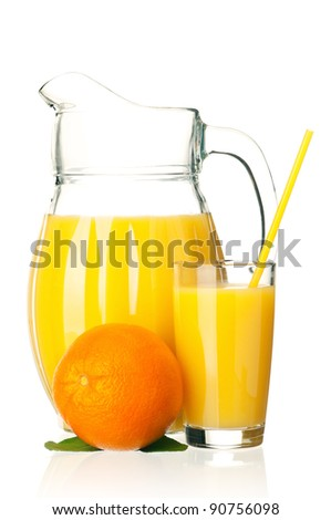 Jug, glass of fresh orange juice with straw and orange fruits with green leaves on white background