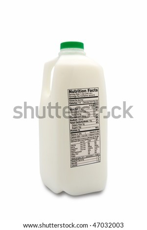 Jug of milk with nutrition label isolated on white background