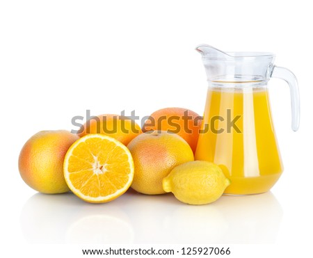 Jug of orange juice and citrus fruits isolated on white