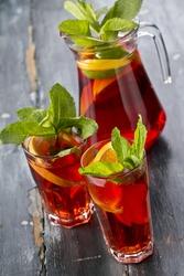 jug of sangria and glasses