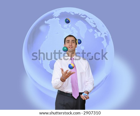 Juggling Business on global background