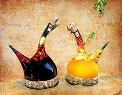 Jugs with spanish traditional wine with fresh fruit in artwork style