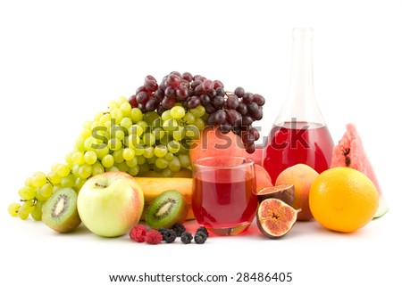 juice and fruits isolated on white