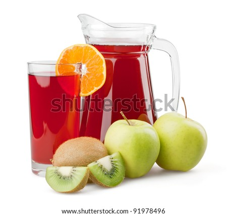 Juice and fruits on white background