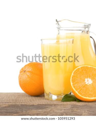 juice and oranges isolated on white background