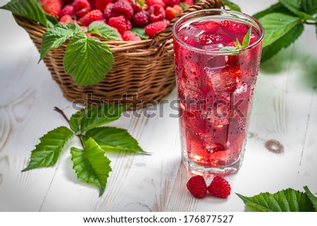 Juice from freshly harvested raspberries served with ice