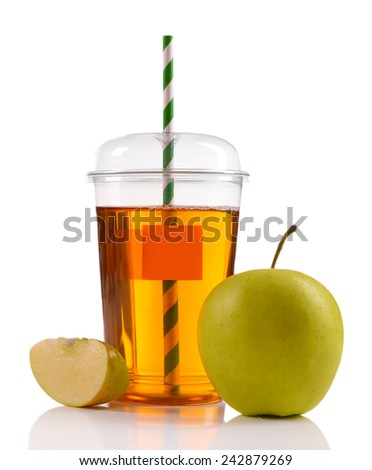 Juice in fast food closed cup with tube and apples isolated on white