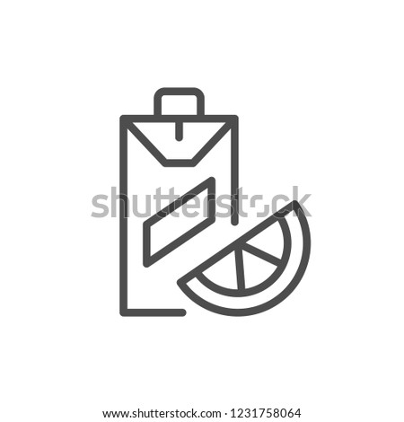Juice line icon isolated on white