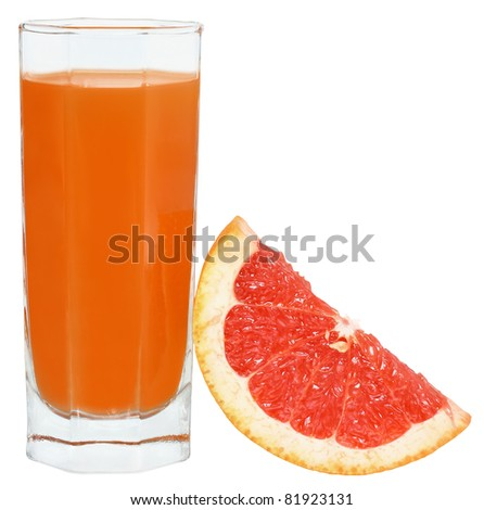 Juice of a grapefruit on a white background