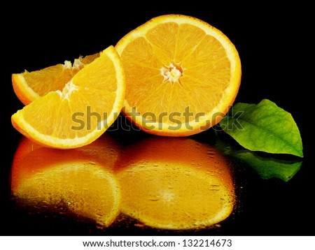 juice orange fruit on a black background with water drops