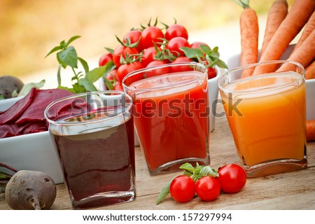Juice squeezed from fresh vegetables