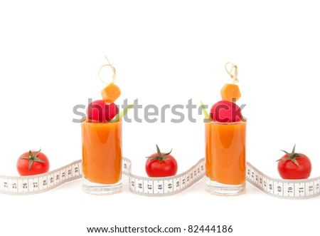 Juice, tomatoes and tape measure's waves