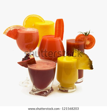 juice with fruits on a white background